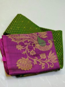 Dark green and purple pure kanchipuram silk sarees