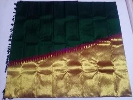 Bottle green pure handloom kanchipuram temple border sarees