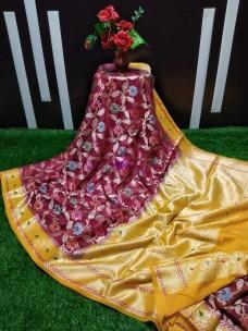 Burgundy and mustard yellow banarasi semi pure silk georgette sarees
