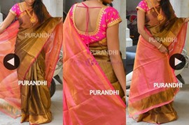 Brown with pink uppada tissue sarees
