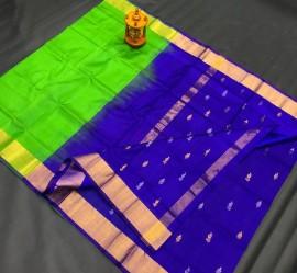 Green and Royal Blue uppada half and half soft silk sarees