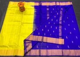 Lemon yellow and Royal Blue uppada half and half soft silk sarees