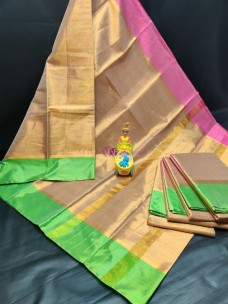 Gold with pink and green uppada tissue cotton sarees