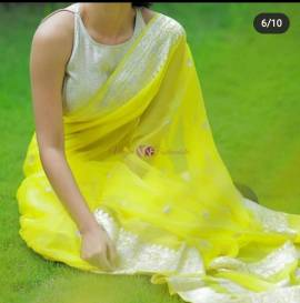Lemon yellow pure banarasi chiffon sarees