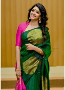 Dark green and pink pure kanchipuram soft silk sarees