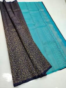 Navy blue and sky blue pure kanchipuram borderless silk sarees