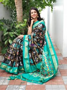 Black and aqua green ikkat silk sarees