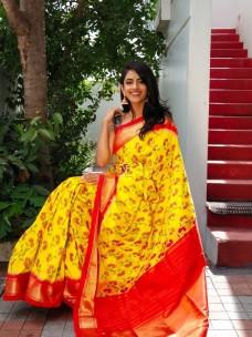 Yellow and red ikkat silk sarees