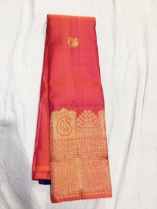 Red mix pink and blue pure silk sarees