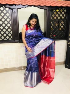 Blue and red kuppadam kanchi border sarees