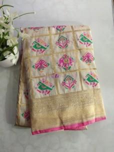 Cream pure banarasi patola silk sarees