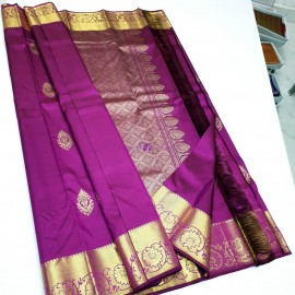 Dark purple pure silk sarees