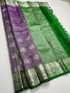 Dark purple and green pure kanchipuram bridal silk sarees