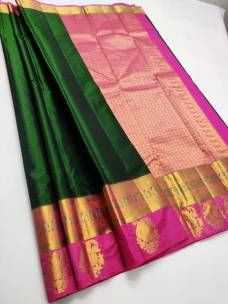Bottle green and pink pure silk sarees