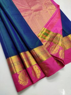 Navy blue handloom silk sarees