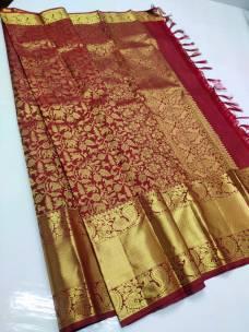 Maroon red pure bridal silk sarees