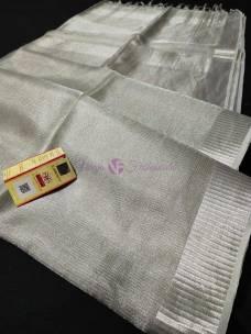 Silver Tussar tissue silk sarees