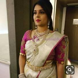 Silver and pink uppada tissue sarees