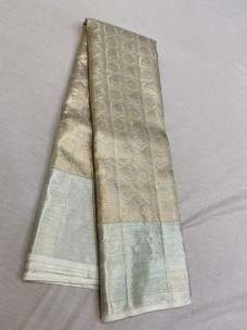 Silver and copper zari pure kanchipuram bridal silk sarees