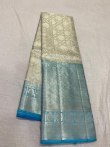 Silver with light blue pure kanchipuram bridal silk sarees