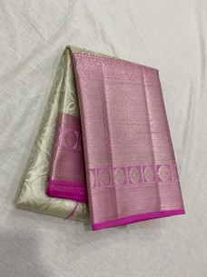Silver with pink pure kanchipuram bridal silk sarees