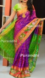 Dark purple with green uppada sarees with checks and pochampally border