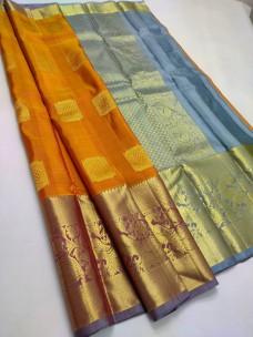 Mustard pure handloom kanchipuram bridal silk sarees