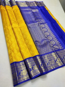 Mango yellow with dark blue pure bridal silk sarees