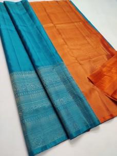 Sky blue with orange pure soft silk sarees