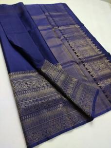 Navy blue pure kanchi soft silk sarees