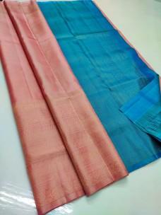 Peach and sky blue pure soft silk sarees