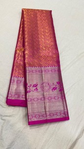 Red mix gold and pink pure bridal silk sarees