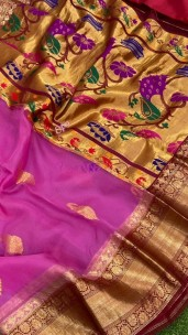 Pink and maroon red kanchi organza with paithani pallu