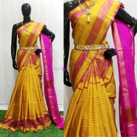 Yellow and pink uppada Mahanathi checks sarees