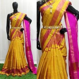 Yellow and pink uppada Mahanathi checks sarees