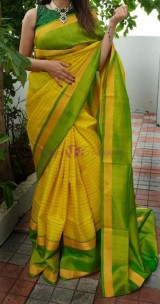 Yellow and light green uppada checks sarees