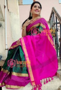 Bottle green uppada mahanati checks sarees
