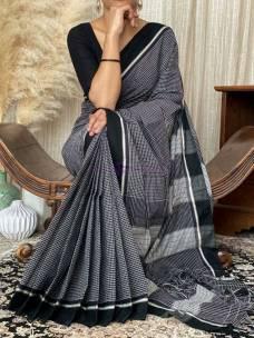 Black narayanpet handloom cotton sarees