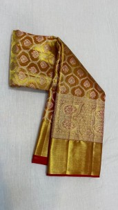Gold with red pure kanchipuram silk sarees