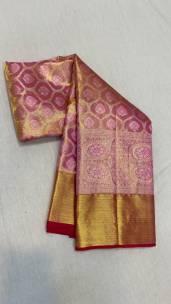 Golden pink pure kanchipuram silk sarees