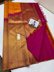 Orange and pink pure kanchipuram rising temple border sarees