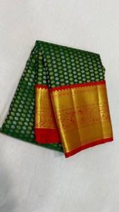 Bottle green and red pure kanchipuram wedding silk sarees