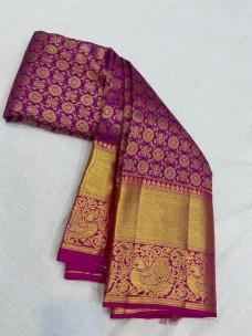 Magenta pure kanchipuram bridal silk sarees