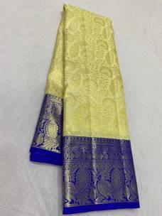 Creamy yellow with dark blue pure wedding silk sarees