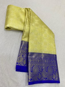Creamy yellow pure kanchipuram wedding sarees