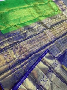 Green with blue pure kanchipuram bridal silk sarees