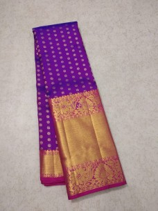 Dark purple pure kanchipuram silk saree