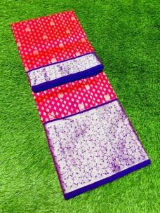 Dark pink and blue pure Venkatagiri silk sarees