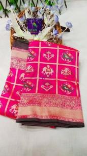 Pink pure banarasi patola silk sarees