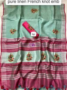 Seagreen linen frenchknot embroidered sarees